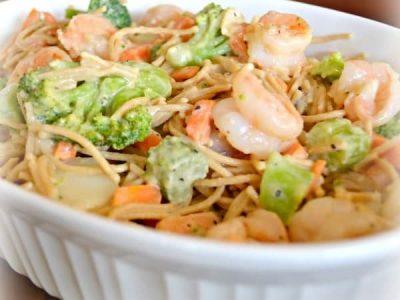 Shrimp Primavera in white serving dish