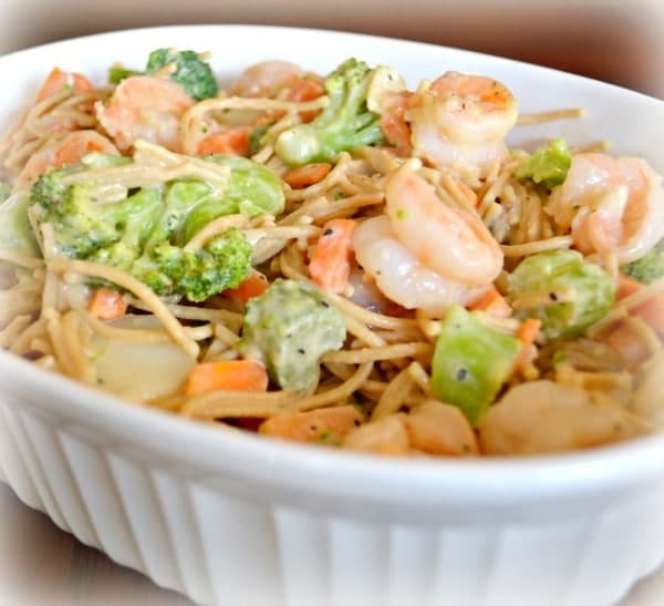 Microwave Shrimp Primavera in a white baking dish