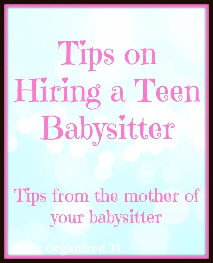 a blue background with title text reading Tips on Hiring a Teen Babysitter