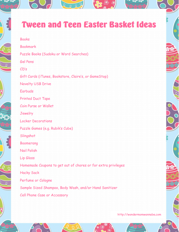 Tween and Teen Easter Basket Ideas