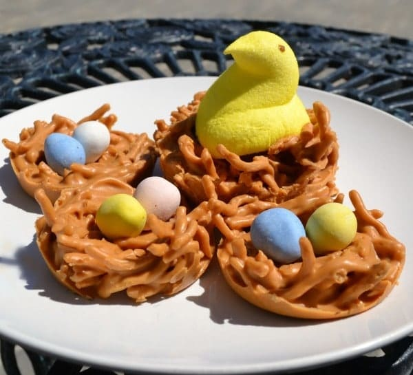 Birds Nest Cookies Assorted decorations on a white plate