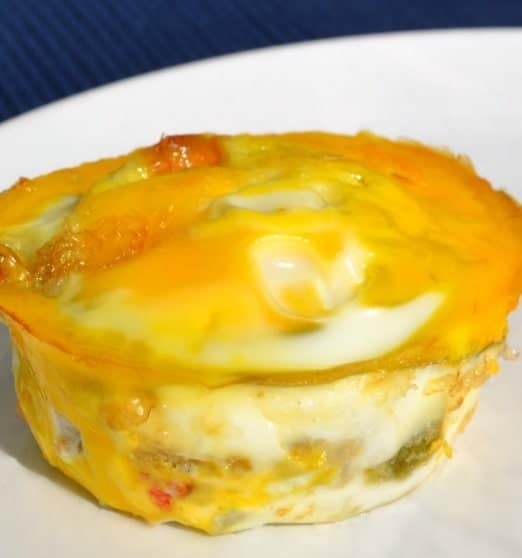 close up of a Breakfast Casserole Cup on a white plate