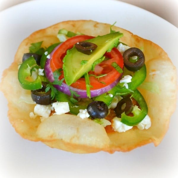 Chicken Tostadas on a white plate