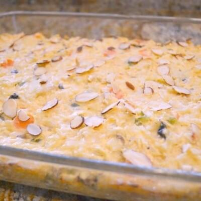 Creamy Garden Chicken Casserole in glass Dish