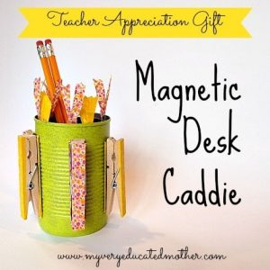 Magnetic Desk Caddie made from a can