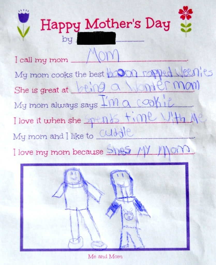 Mother's Day Survey filled out by a child