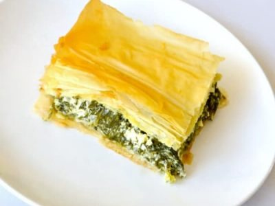 Spinach Feta Pie on white plate