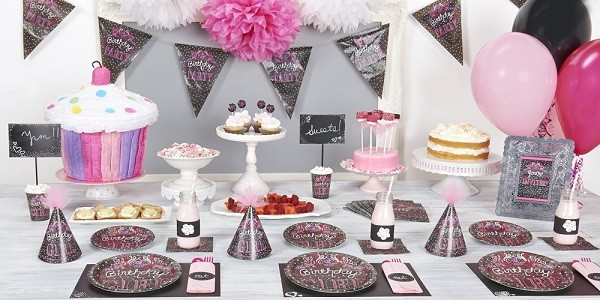 Pink chalkboard themed party decorations