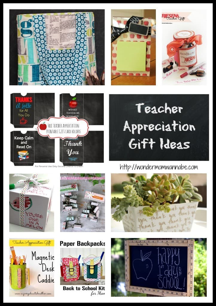 Collage of gift ideas for teachers