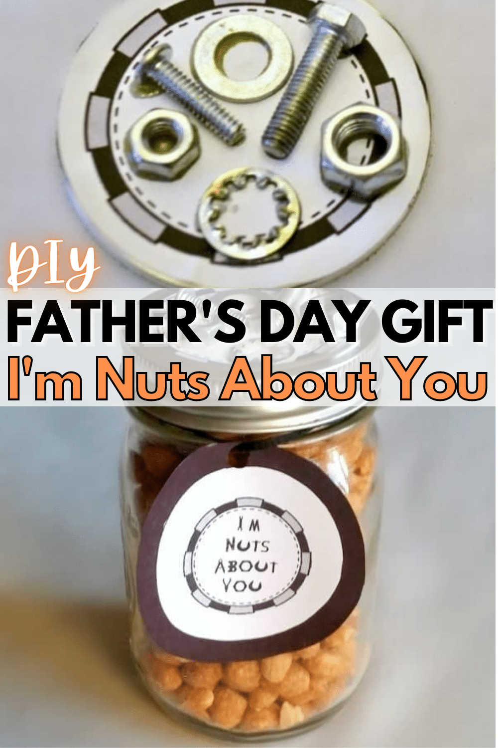 """Even if you're not much of a crafter, you can make this easy gift. It's a fun DIY Father's Day gift that tells your husband """"I'm Nuts About You!"""" #diy #fathersday #fathersdaygift via @wondermomwannab"""