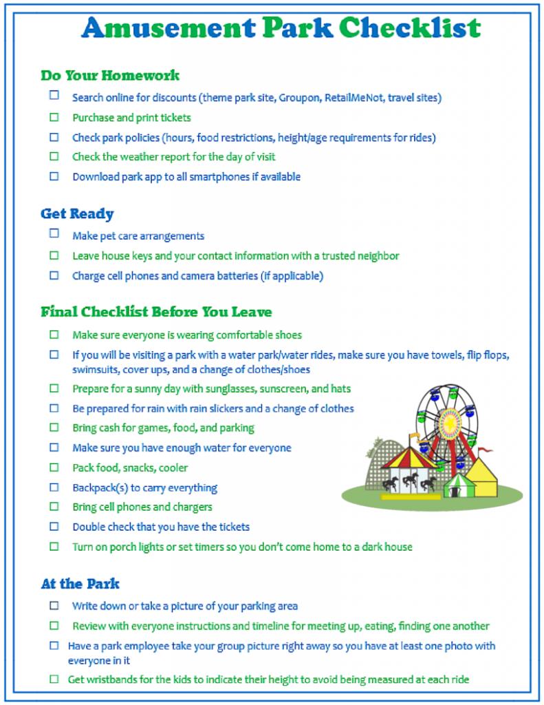 Amusement Park Checklist