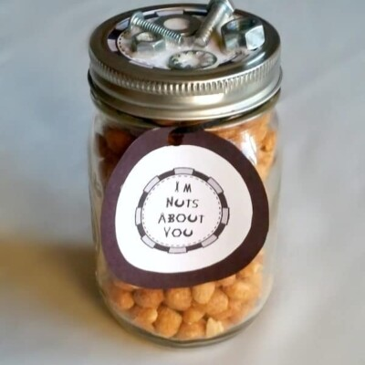 Jar full of peanuts with sign that says I'm nuts about you for Father's Day