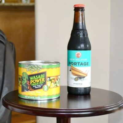 Wasabi snack mix and bottle of beer