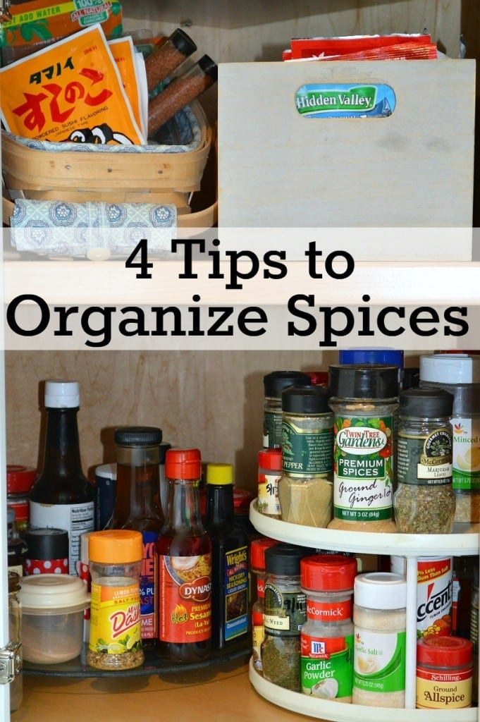 a collage of shelves in a pantry with title text reading 4 Tips to Organize Spices