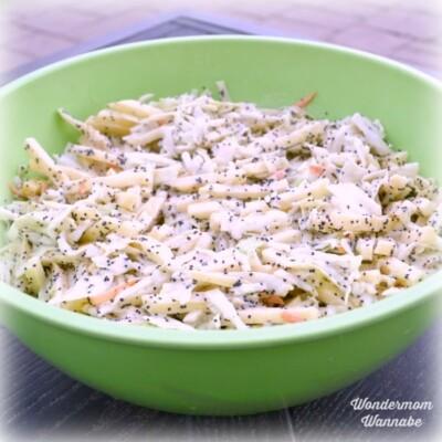 Apple coleslaw salad in green bowl