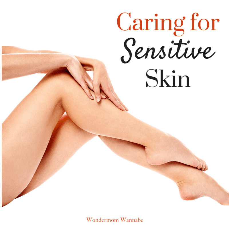 a lady's hands on her legs on a white background with title text reading Caring for Sensitive Skin