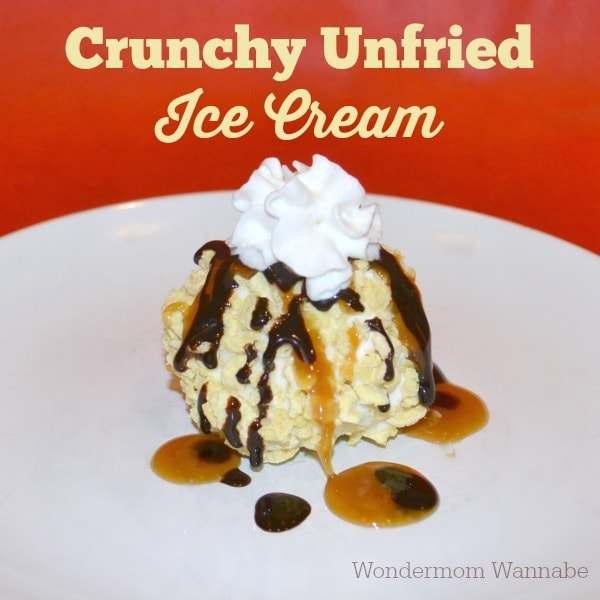 Crunchy Unfried Ice Cream on a white plate and as the title text