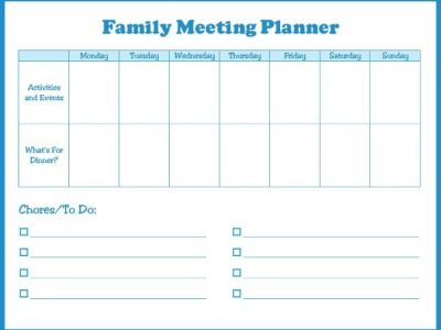 Family meeting planner with space for activities and events, dinner, chores, to do