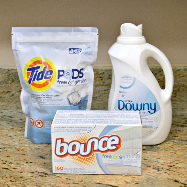 Free & Gentle Tide, Downy and Bounce products as caring for sensitive skin products