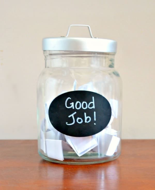 Reward Jar with the words Good Job on the label