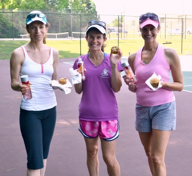 3 ladies enjoying an after Tennis Treat as a way to shape up this summer with friends