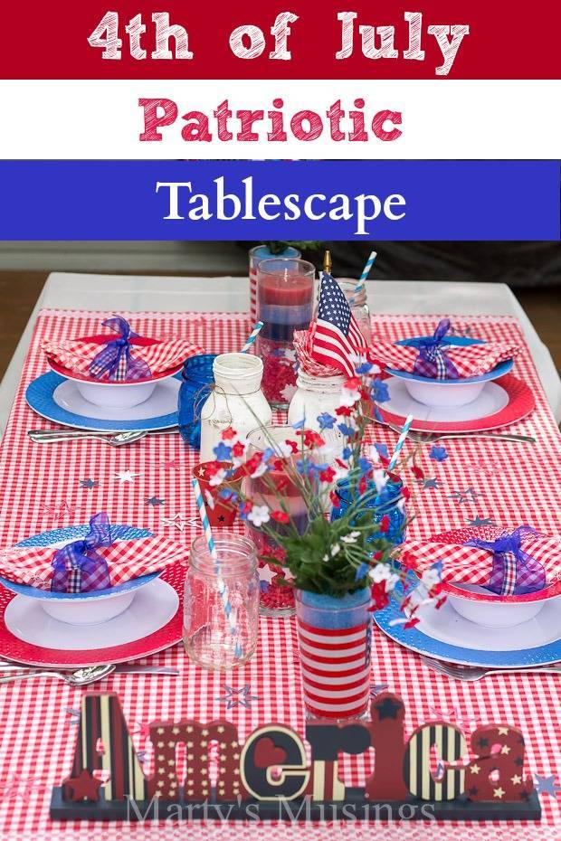 4th of July Patriotic Tablescape from Marty's Musings