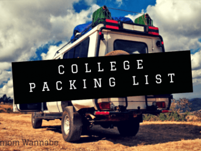 Van parked in the desert with bags on top, says college packing list