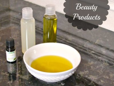 Homemade beauty product using oils in white bowl