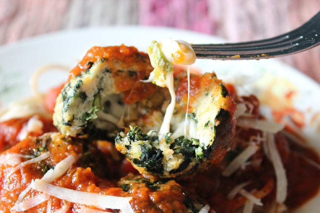 Mozzarella Stuffed Spinach Chicken Meatballs from Everyday Made Fresh