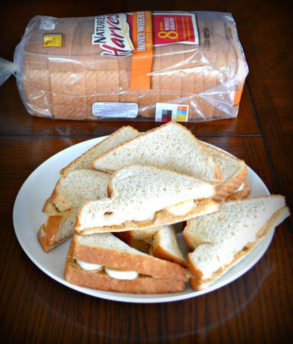 Peanut Butter Honey Banana Sandwiches