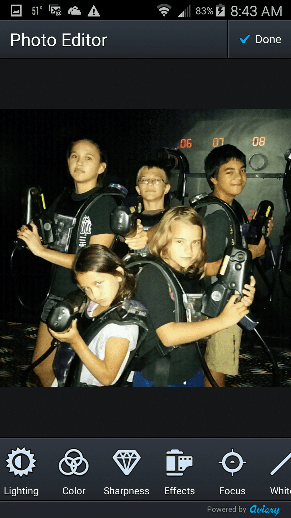 Home screen of kids playing laser tag