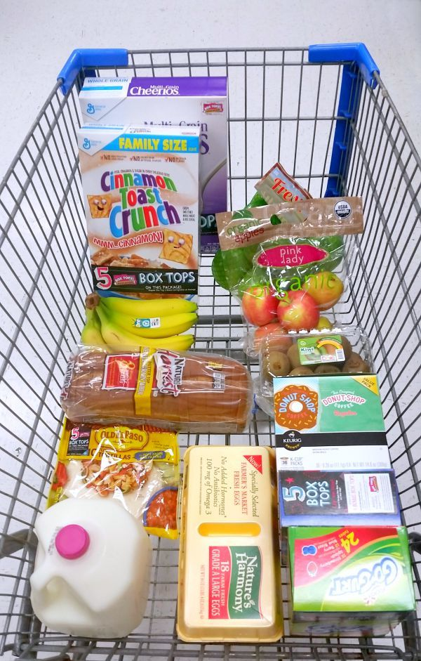 Shopping Cart Full of products with Box Tops on them
