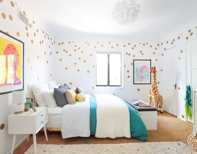 Young girls room. Bright and airy
