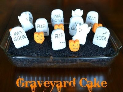 Graveyard cake in glass baking pan