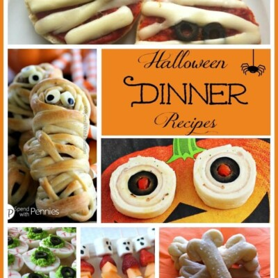 Collage of Halloween dinner ideas