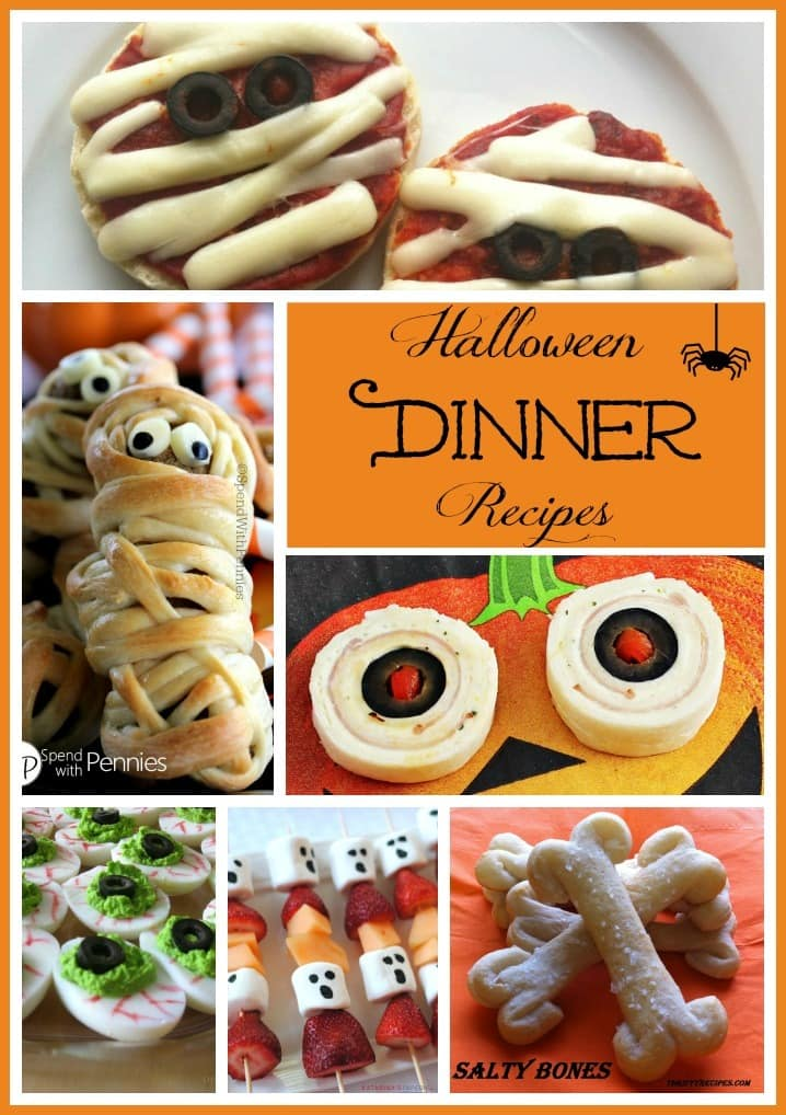 a collage of 6 different dishes with title text reading Halloween Dinner Recipes