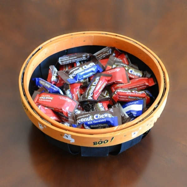 Milk & Dark Chocolate Peanut Chews in a Halloween basket