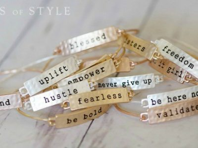 Bracelets with various words on them
