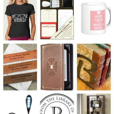 Collage of gift ideas for book lovers