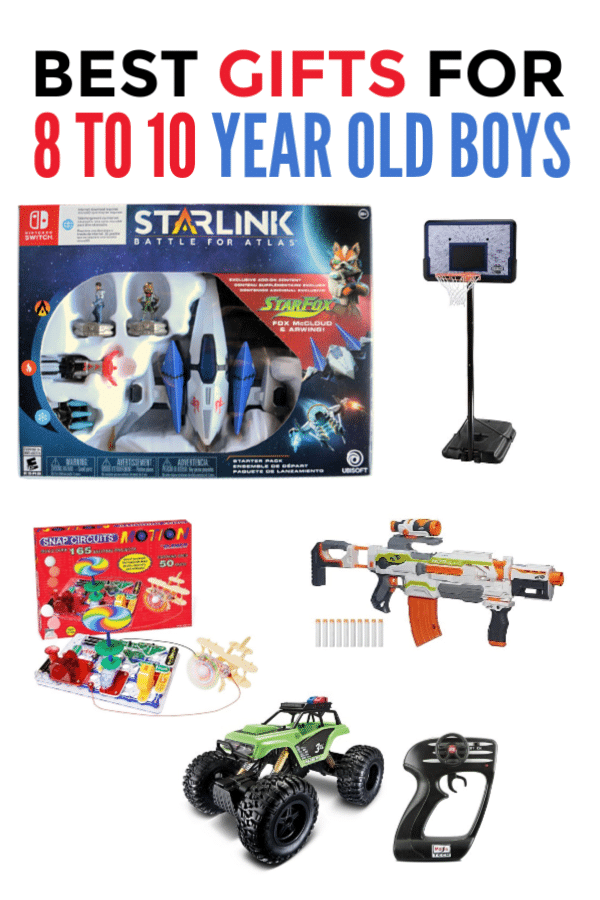 a collage of 6 different gift ideas on a white background with title text reading Best Gifts for 8 to 10-Year Old Boys