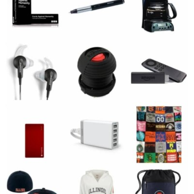 Collage of gift idea for college students
