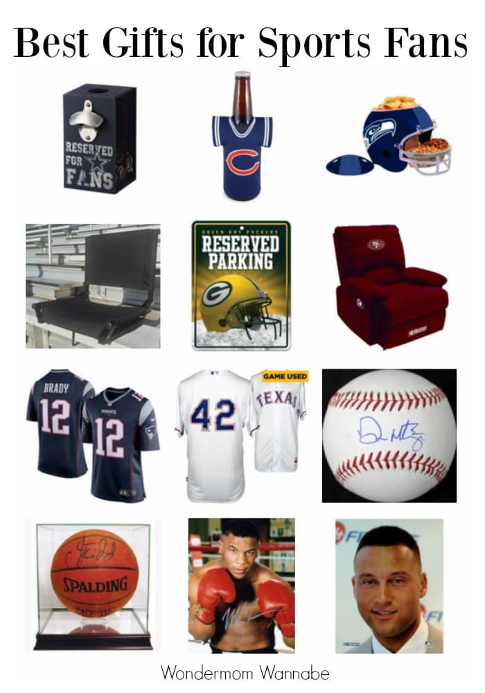 Collage of gift ideas for sports fans