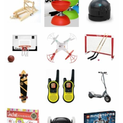 Collage of gift ideas for tween boys