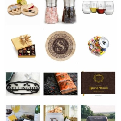 Collage of gift ideas for hostesses