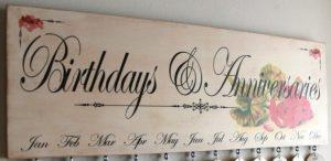 Birthdays and Anniversaries sign