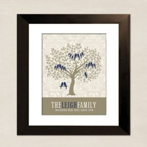 personalized family tree in a frame on a wall
