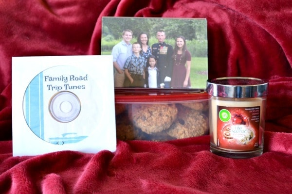 Gift of Home college care package with a photo, cookies, candle and cd