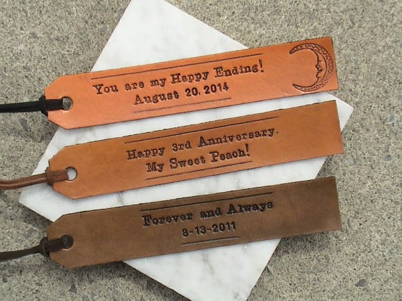 personalized bookmarks with text reading you are my happy ending, happy 3rd anniversary, forever and always