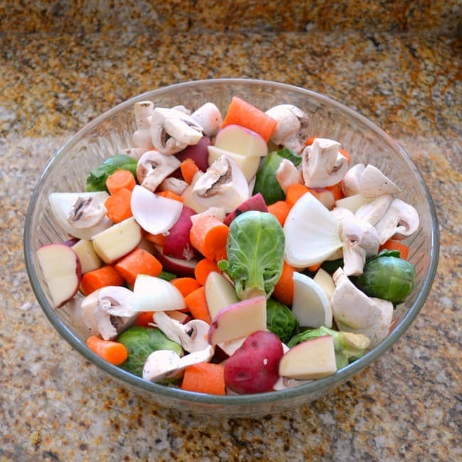 Chopped Vegetables in a glass bowl on a kitchen counter