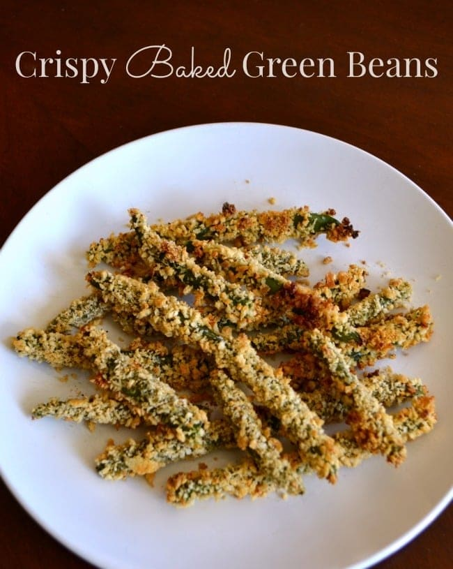 Crispy baked green beans make a tasty snack or appetizer and are kid-tested and approved